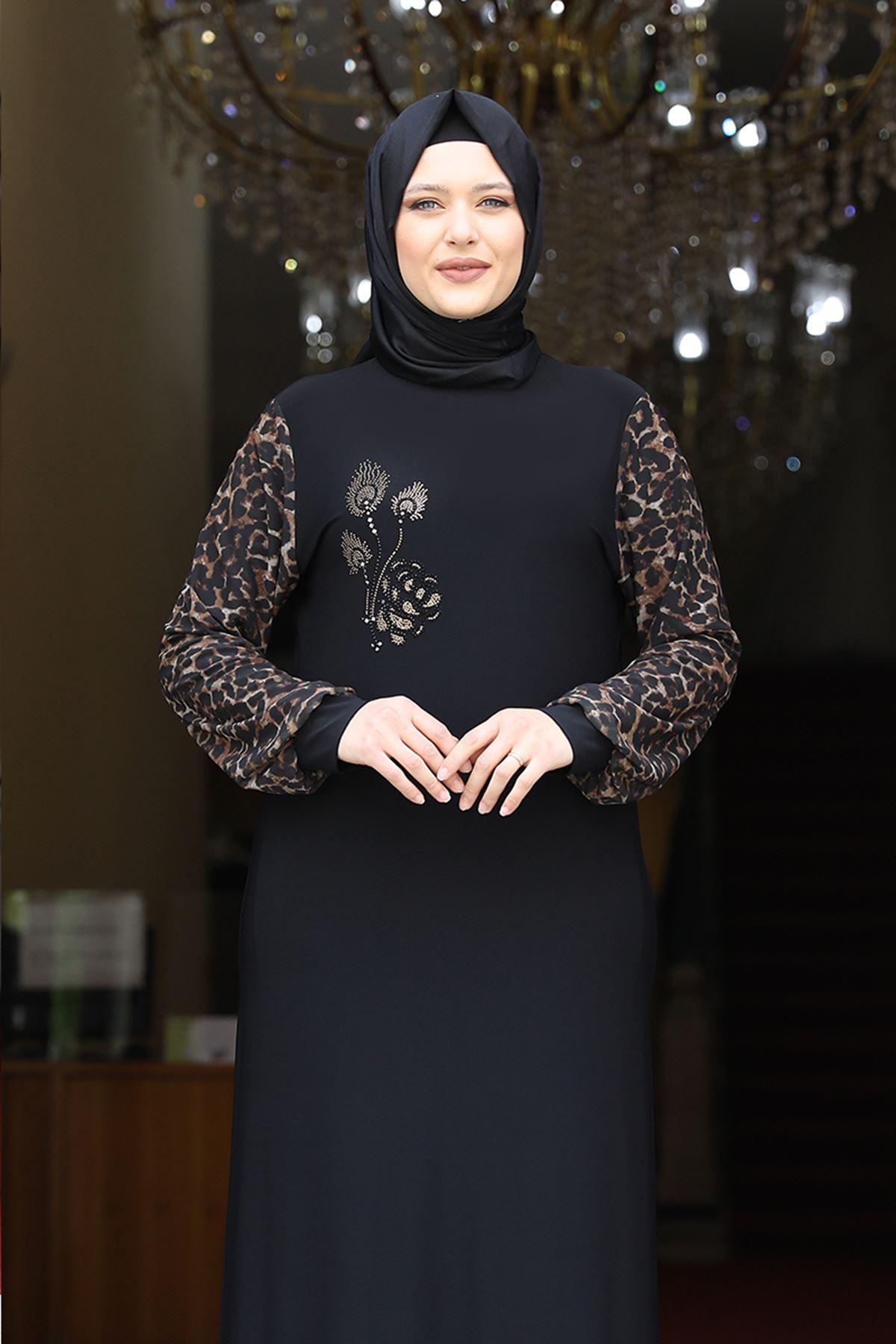 Amine Hüma Leopar Elbise Siyah AMİ1073