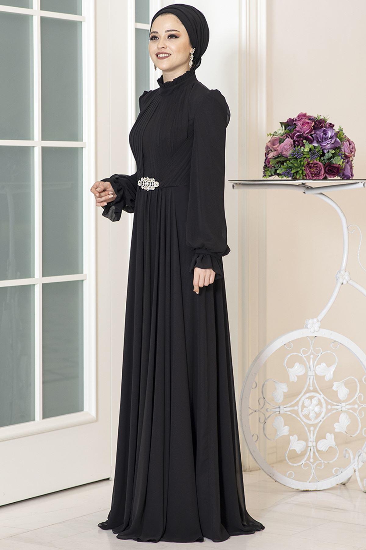 Al Marah Rüya Şifon Abiye Siyah ALM3017