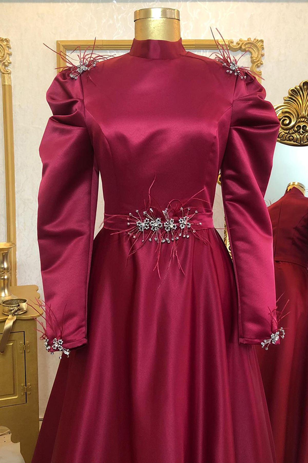 Burak Baran Fashion  Ala Abiye Bordo BUR6708