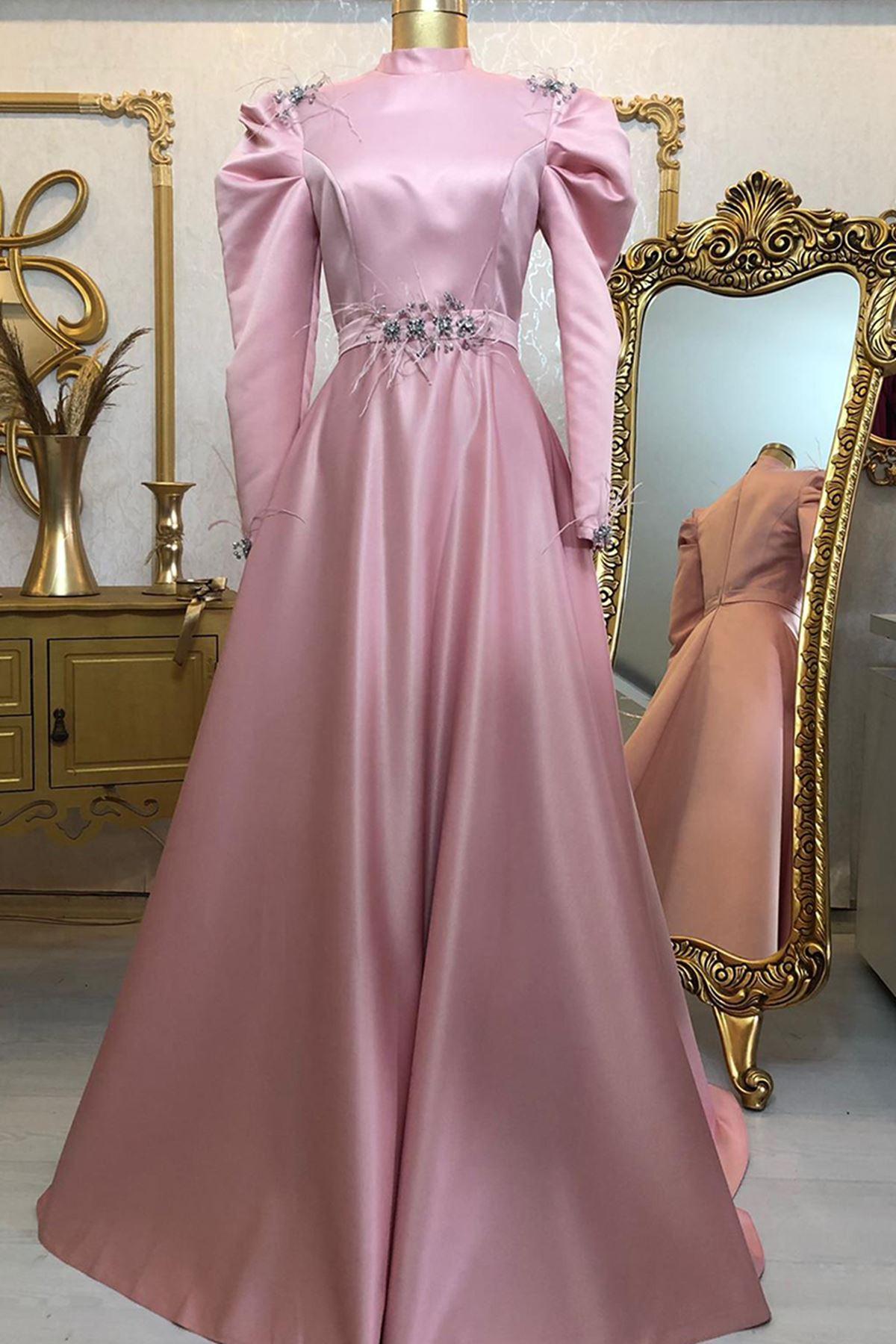 Burak Baran Fashion  Ala Abiye Koyu Pudra BUR6708