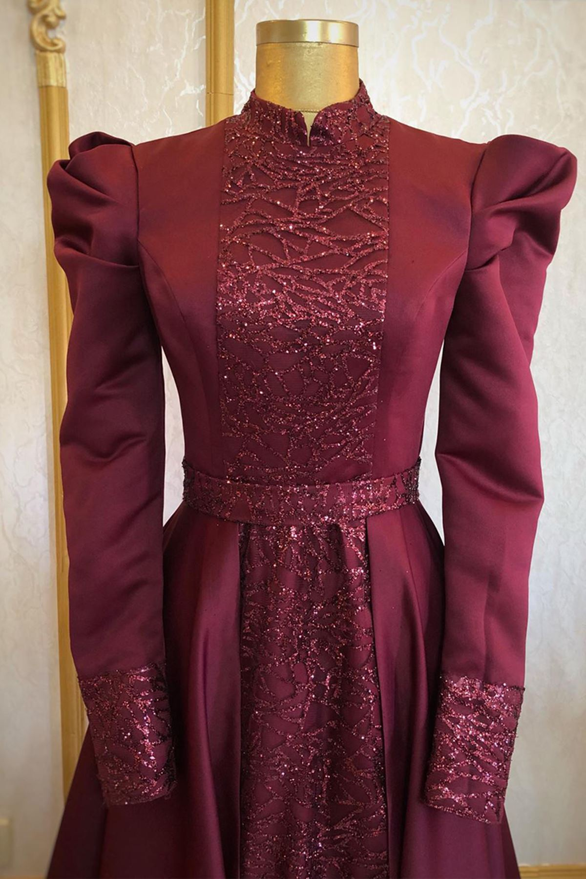Burak Baran Fashion  Gülfem Abiye Bordo BUR6709