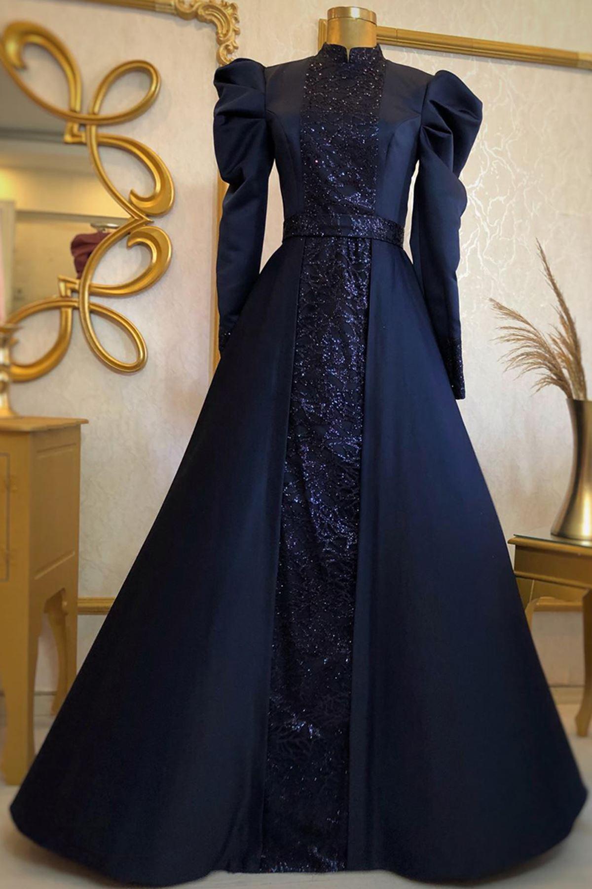 Burak Baran Fashion  Gülfem Abiye Lacivert BUR6709