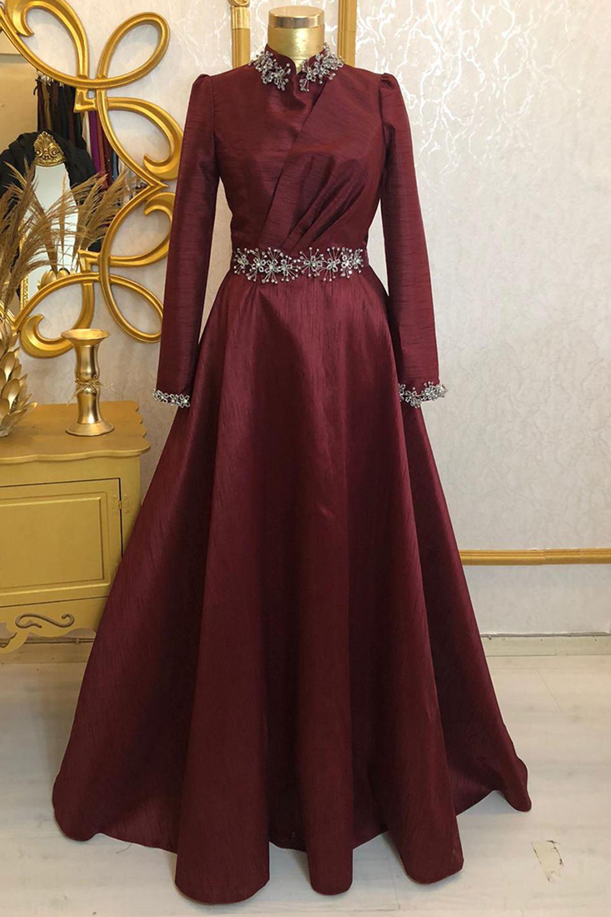 Burak Baran Fashion  Heawen Abiye Bordo BUR6710