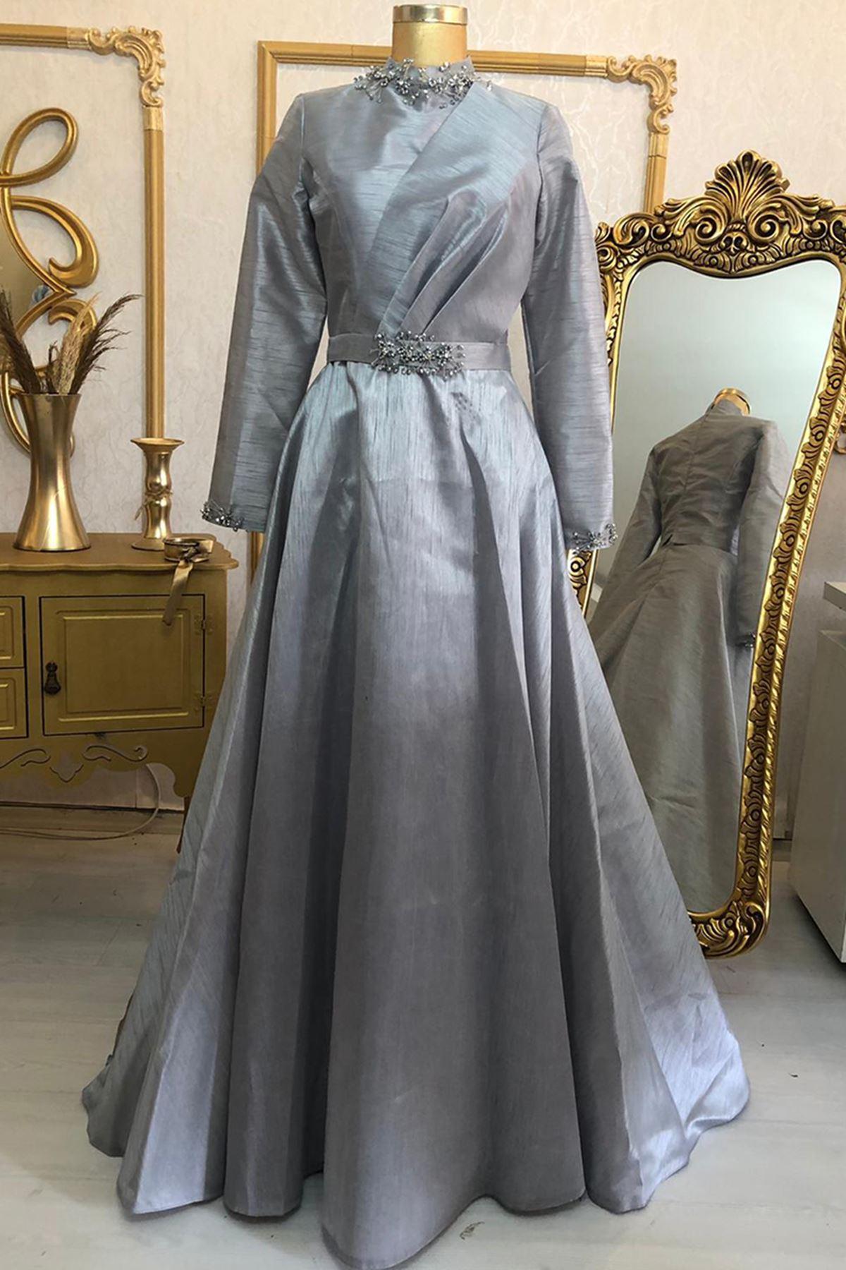 Burak Baran Fashion  Heawen Abiye Gri BUR6710