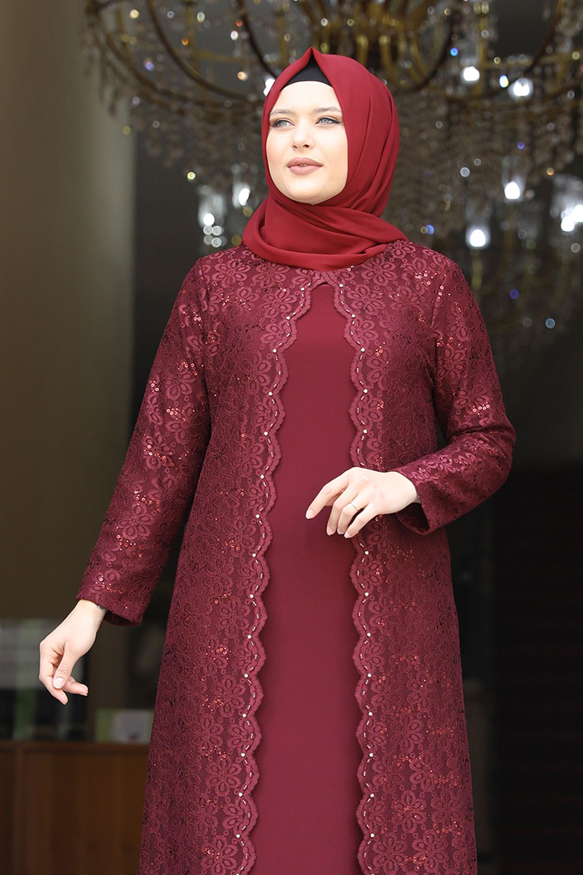 Amine Hüma - Papatya Abiye Bordo AMİ1049