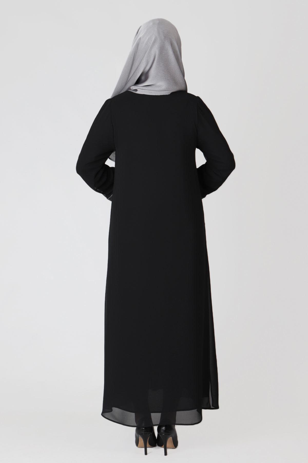 Büyük Beden Tesettür Abaya 65002 Siyah