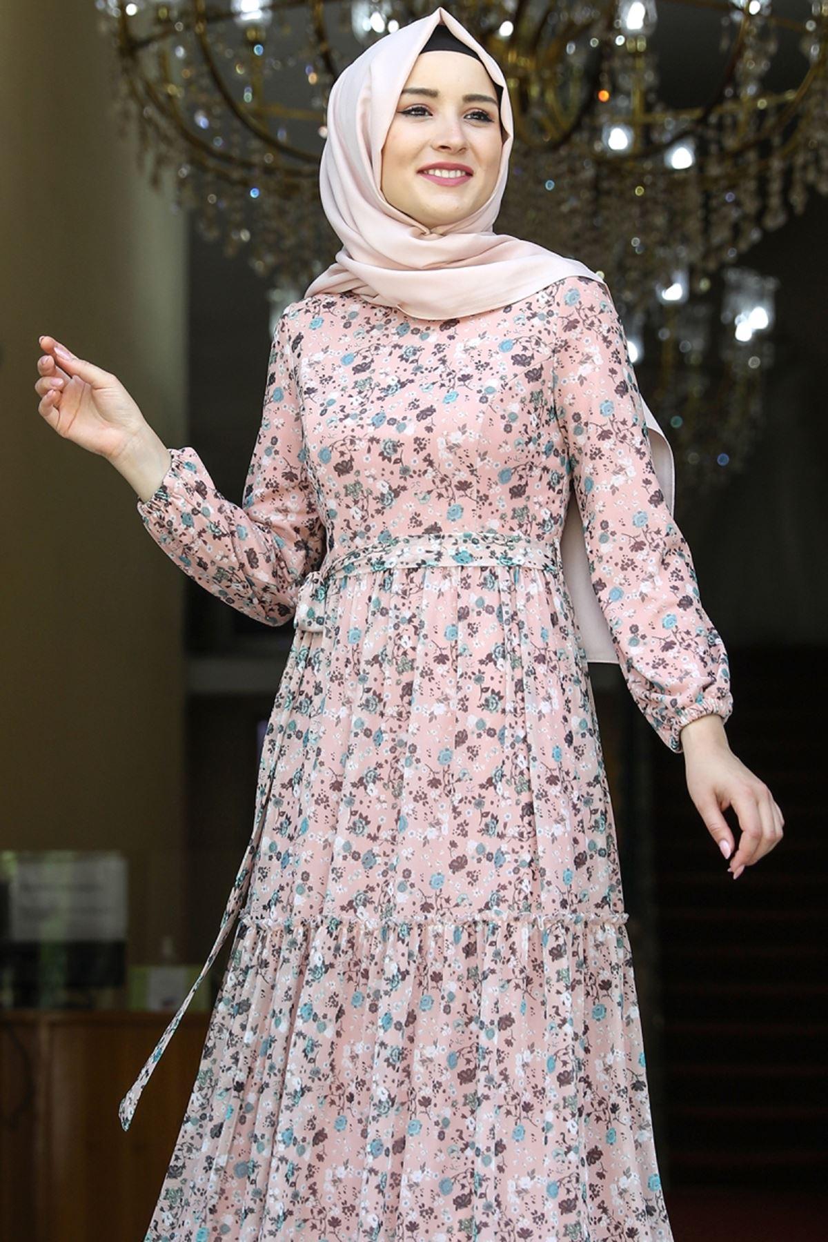 Amine Hüma Çiçek Elbise Pudra AMİ1079
