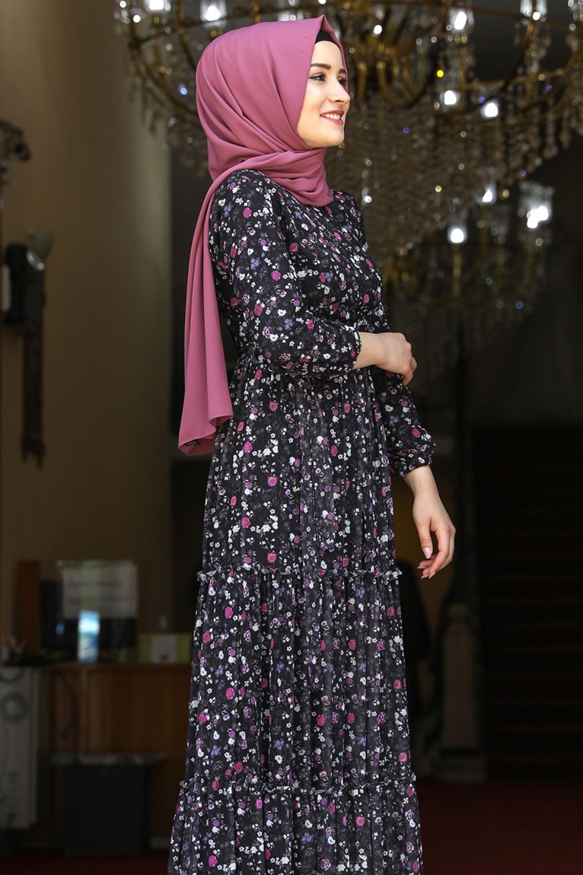 Amine Hüma Çiçek Elbise Siyah AMİ1079