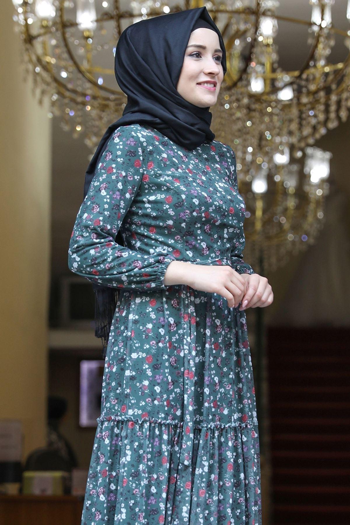 Amine Hüma Çiçek Elbise Zümrüt AMİ1079