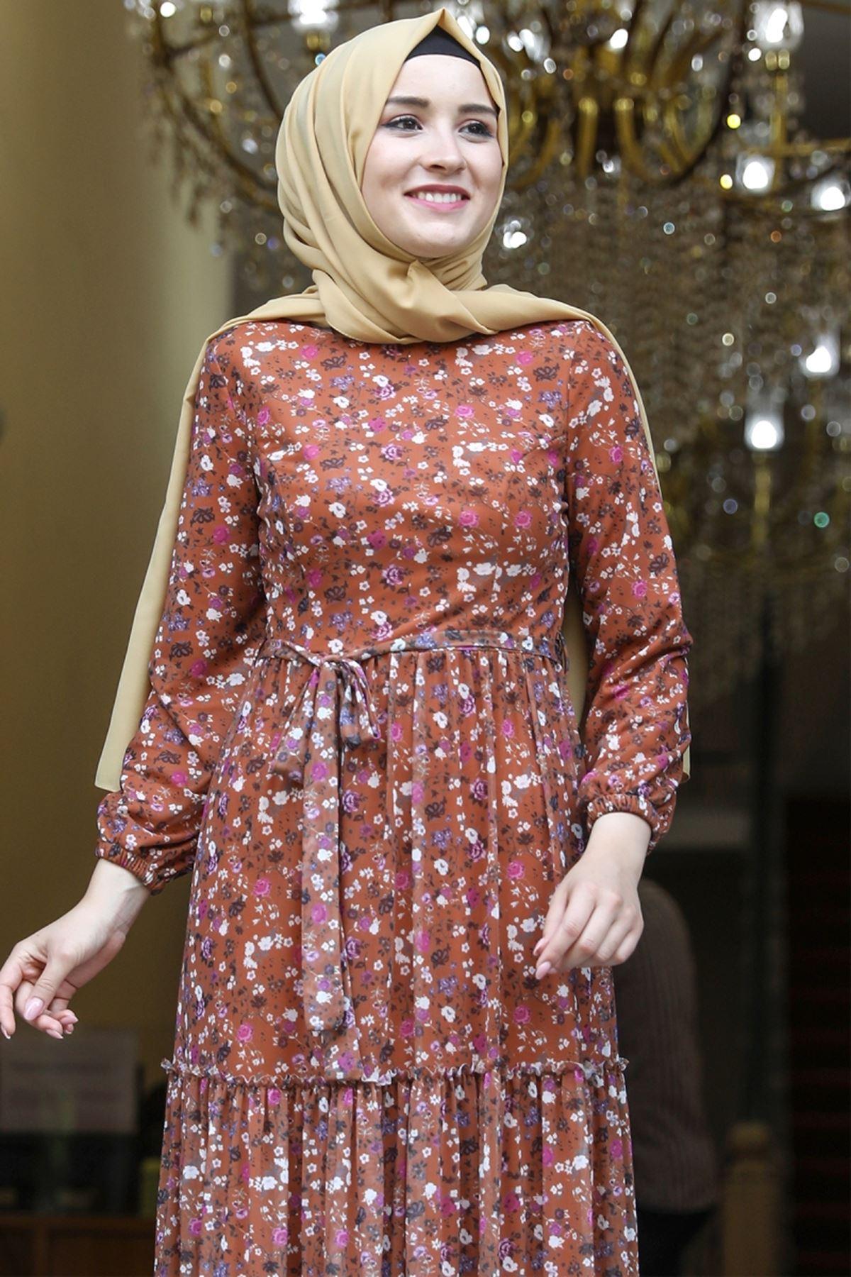 Amine Hüma Çiçek Elbise Kiremit AMİ1079
