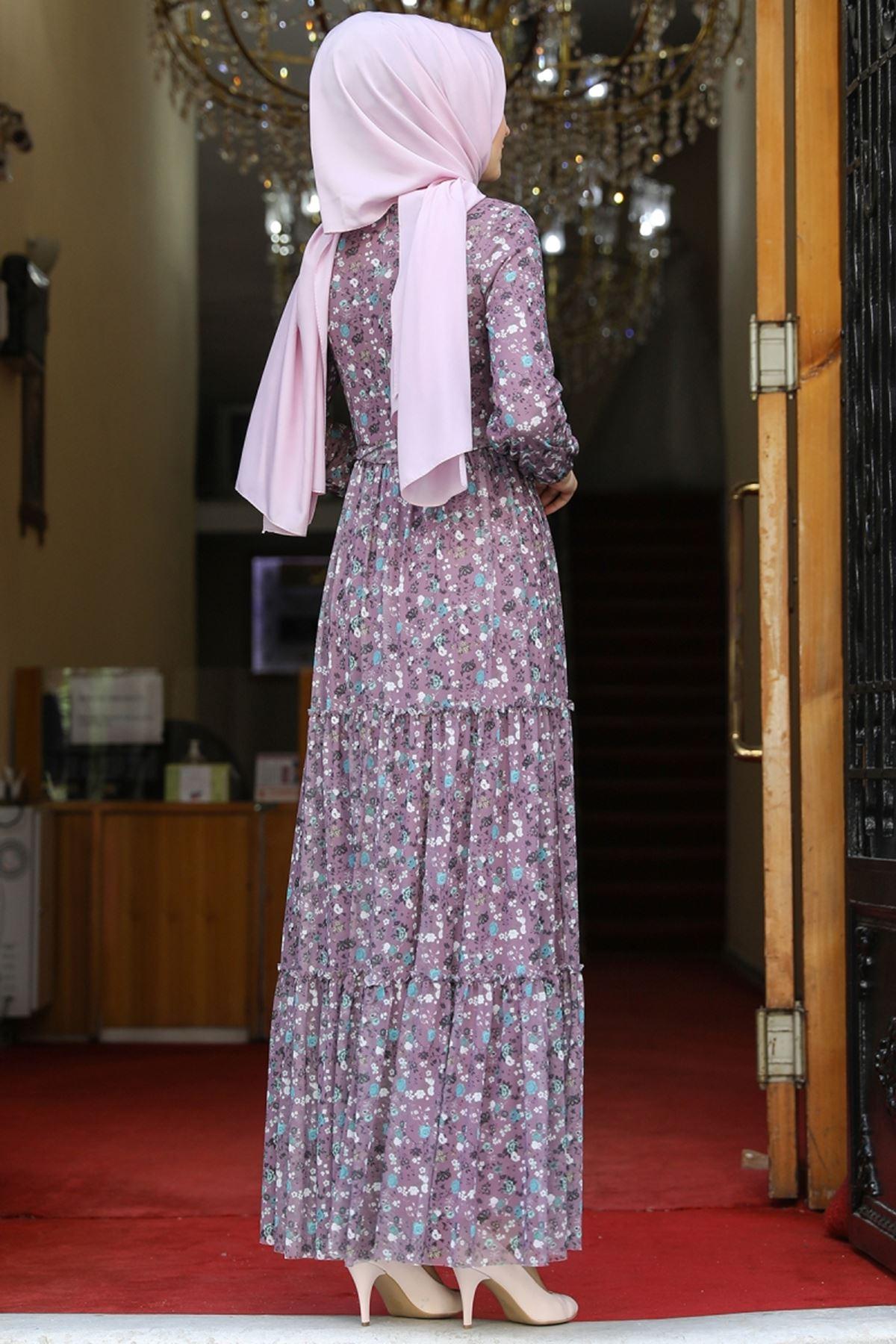 Amine Hüma Çiçek Elbise Lila AMİ1079
