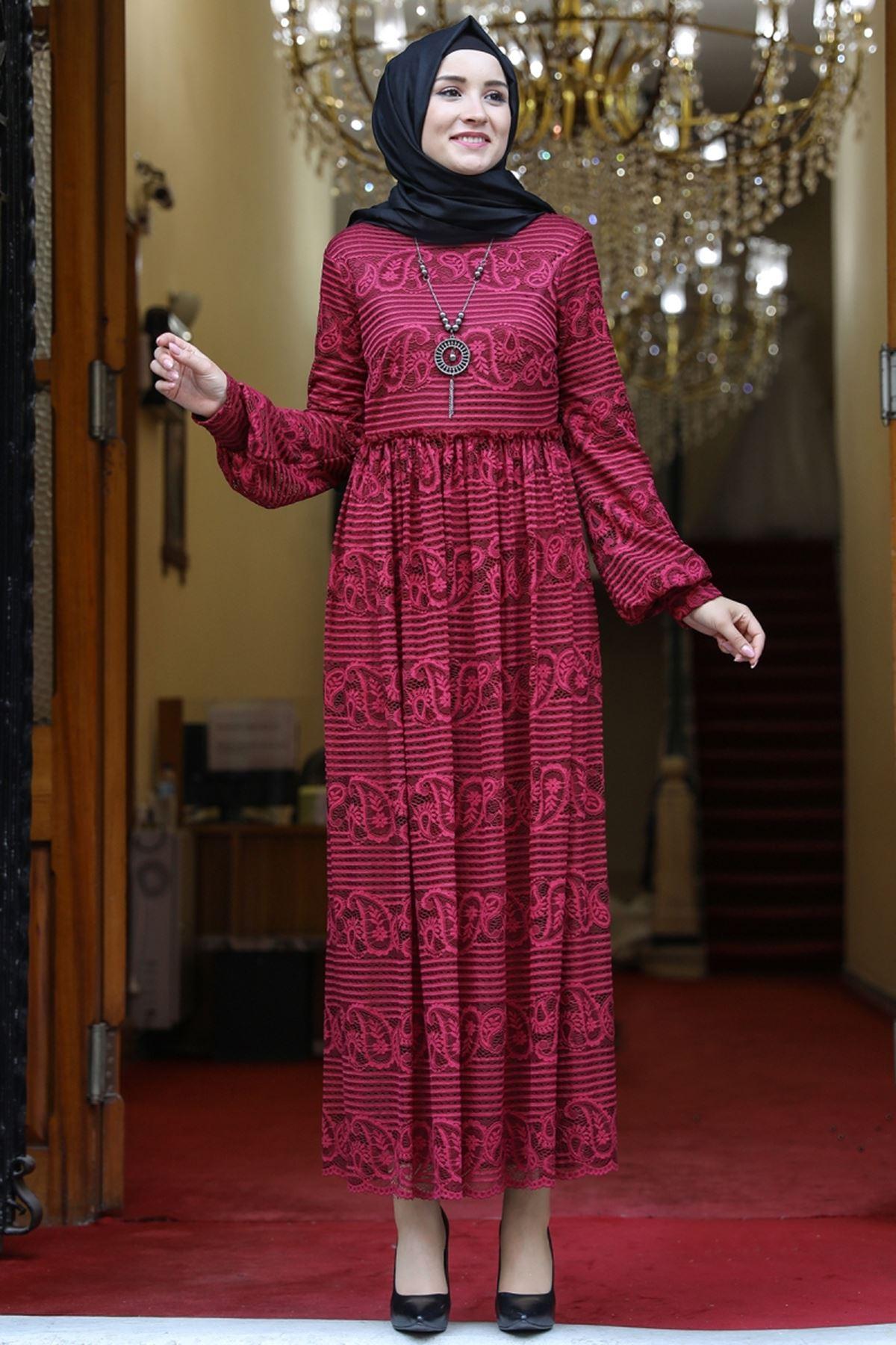 Amine Hüma Simge Dantelli Elbise Bordo AMİ1080