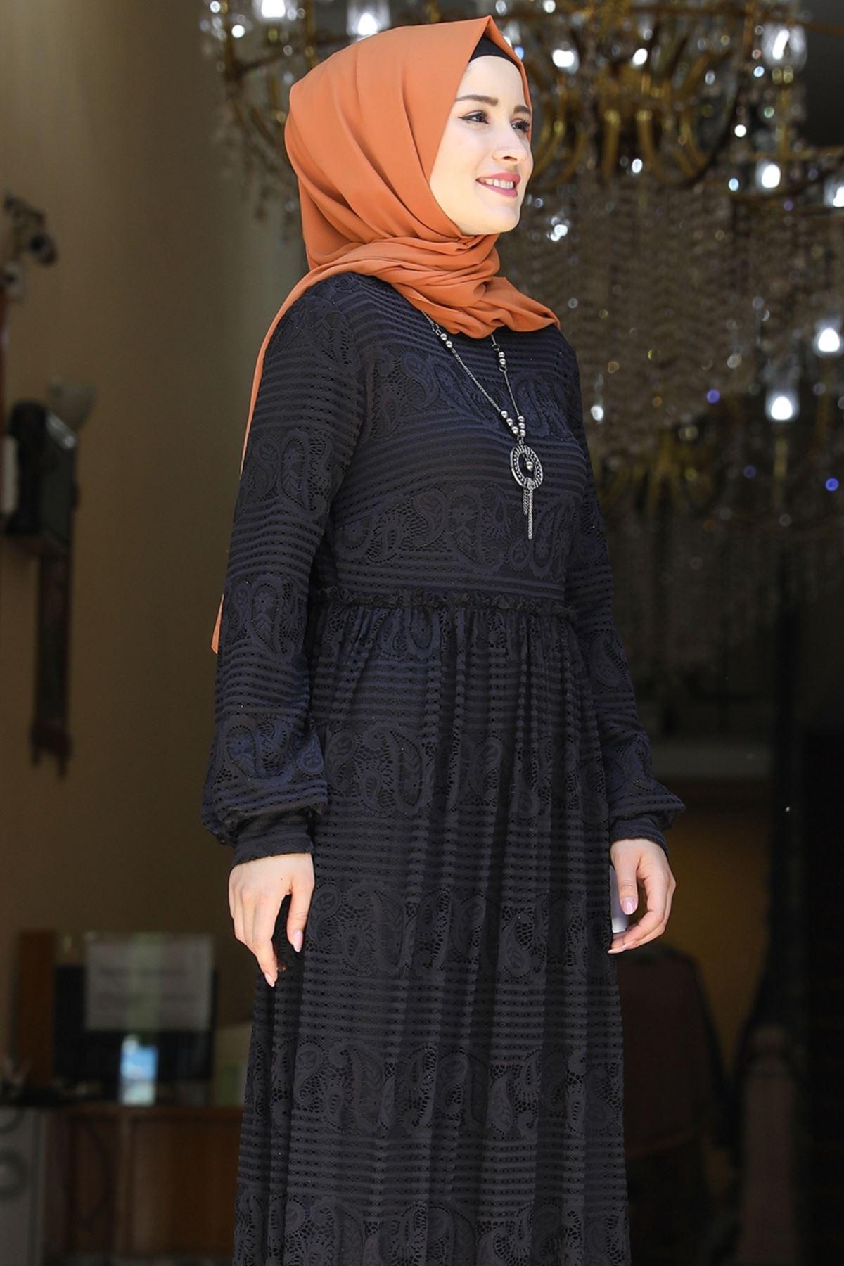 Amine Hüma Simge Dantelli Elbise Siyah AMİ1080