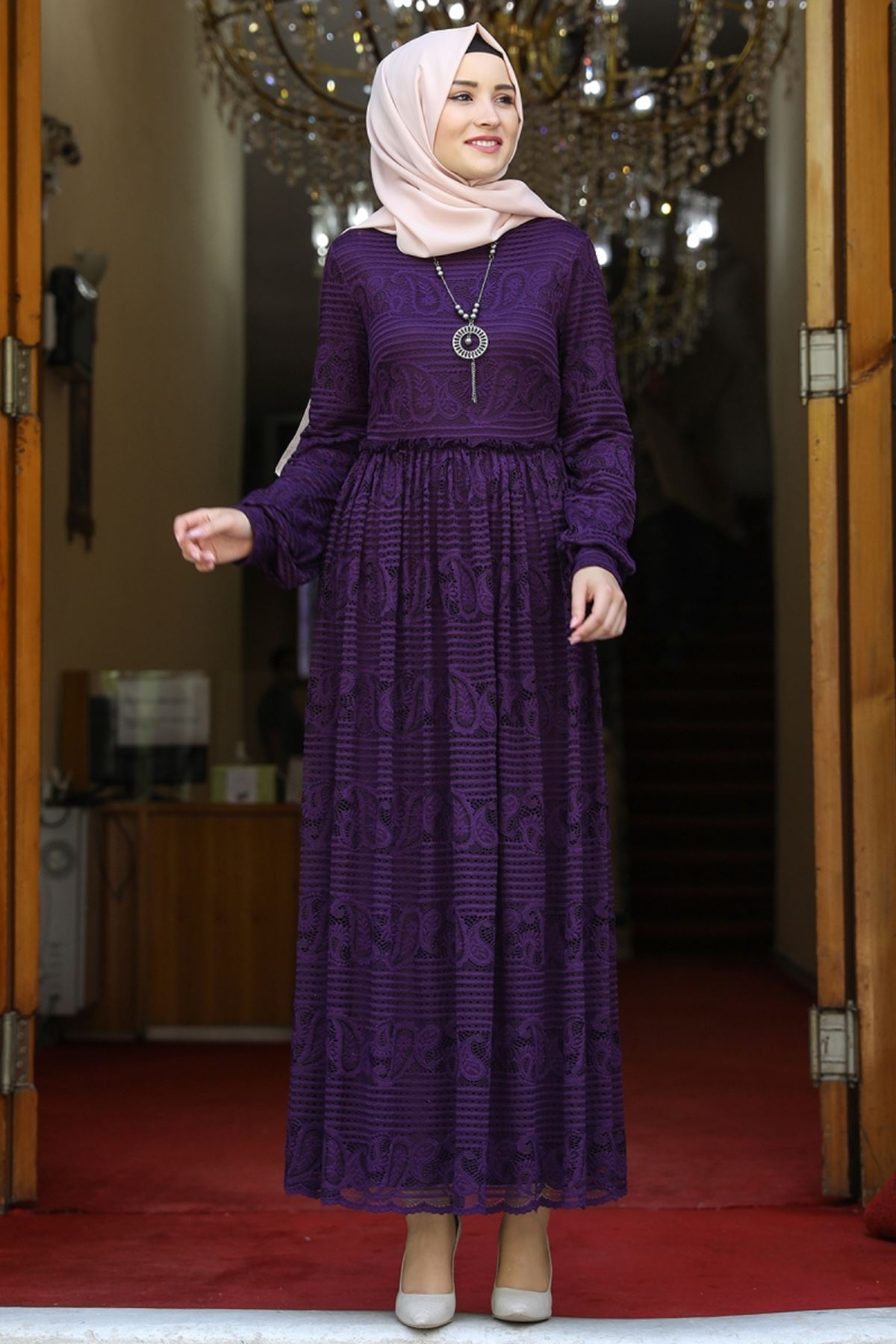 Amine Hüma Simge Dantelli Elbise Mor AMİ1080