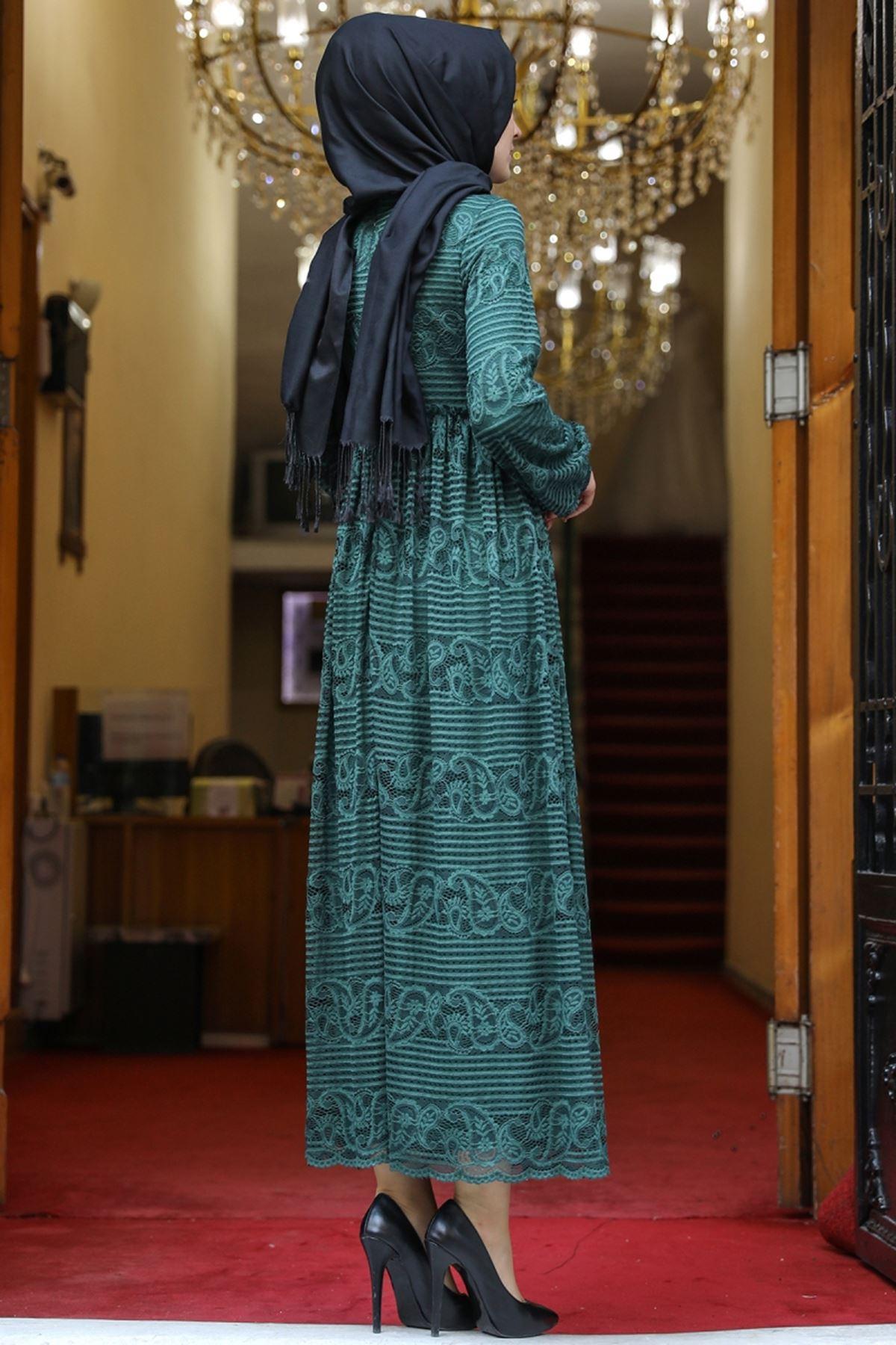 Amine Hüma Simge Dantelli Elbise Zümrüt AMİ1080