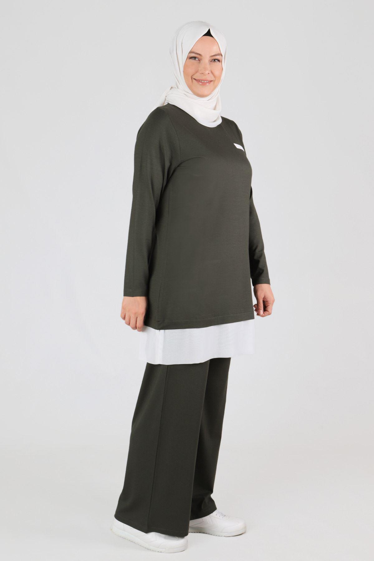 Büyük Beden Tesettür Pantolonlu Takım 35045 Haki