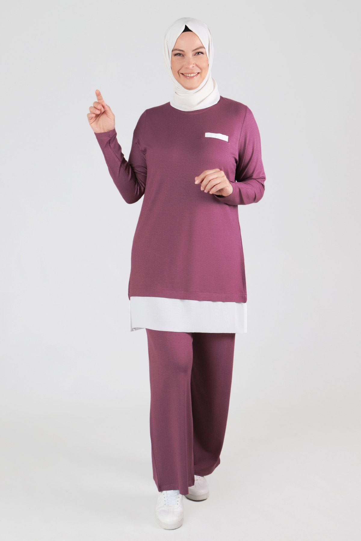 Büyük Beden Tesettür Pantolonlu Takım 35045 Violet