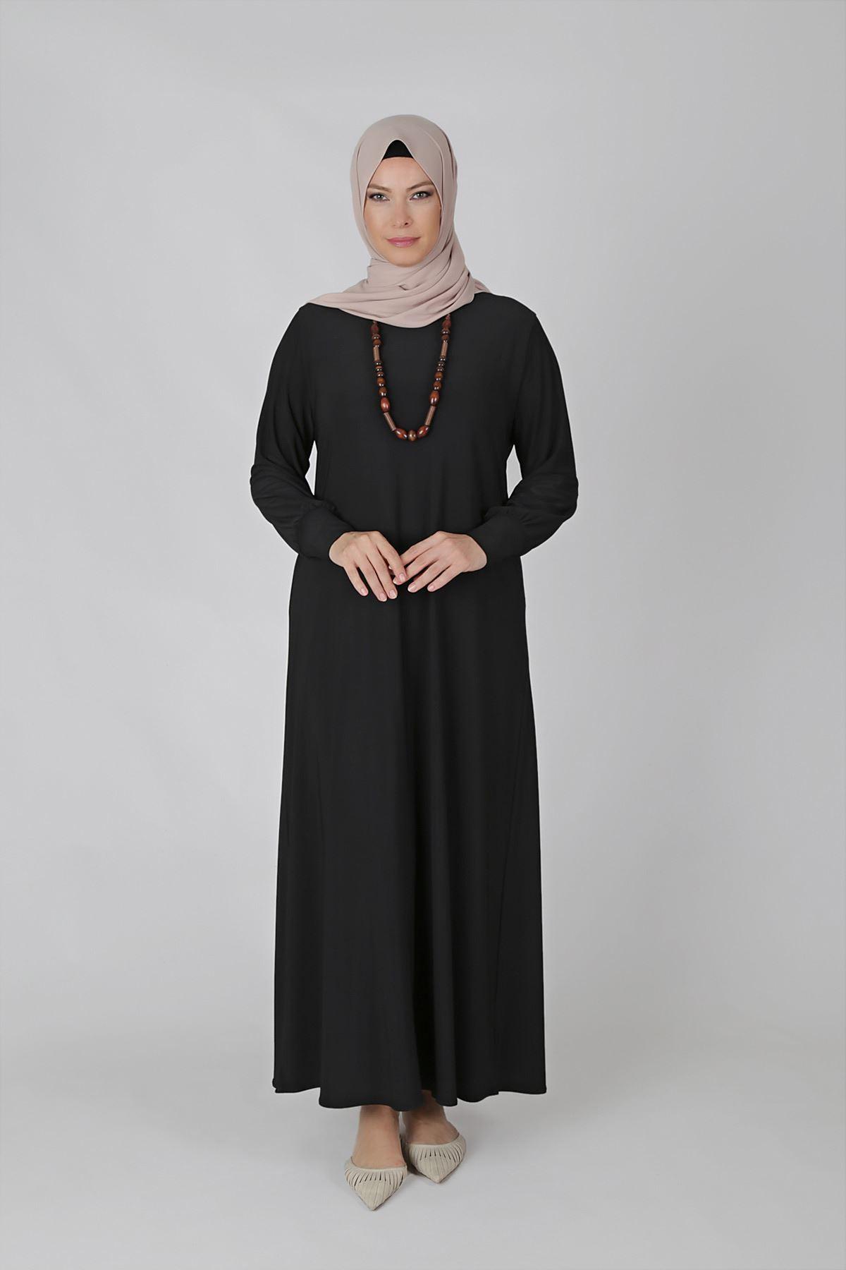 Büyük Beden Tesettür Elbise 75001 Siyah