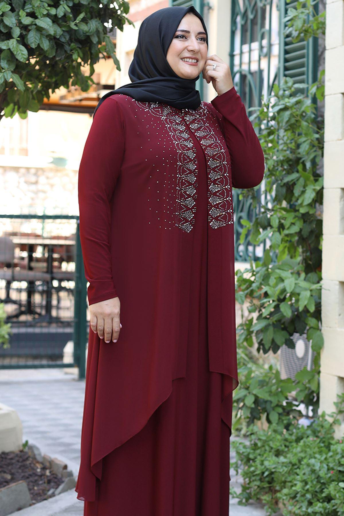 Emsale Elenşah Abiye Bordo EMS8339