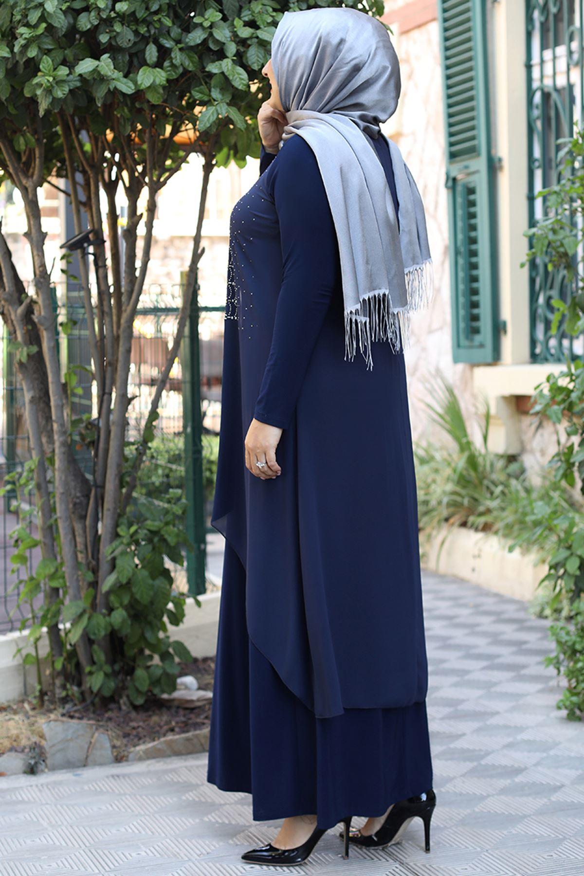 Emsale Elenşah Abiye Lacivert EMS8339