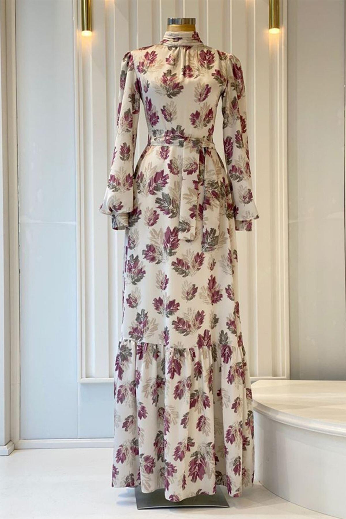 Pınar Şems Soft Yaprak Elbise Fuşya PNR6144