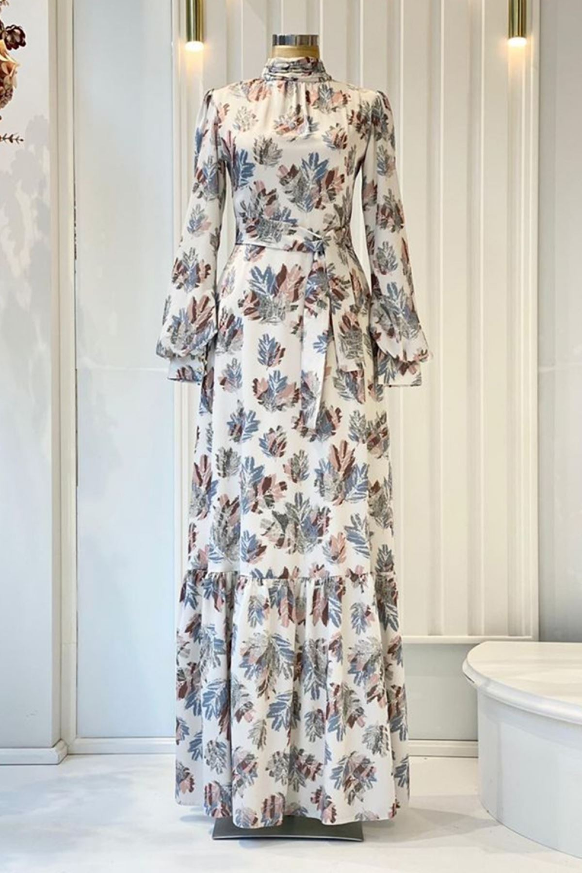 Pınar Şems Soft Yaprak Elbise Mavi PNR6144