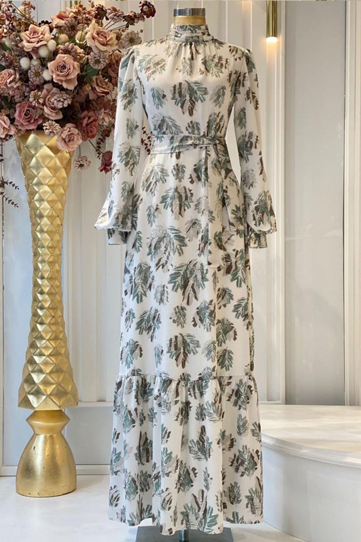 Pınar Şems Soft Yaprak Elbise Yeşil  PNR6144