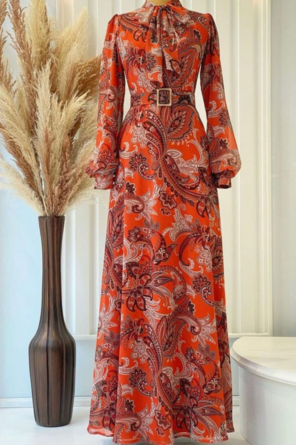 Pınar Şems Seray Elbise Turuncu PNR6145