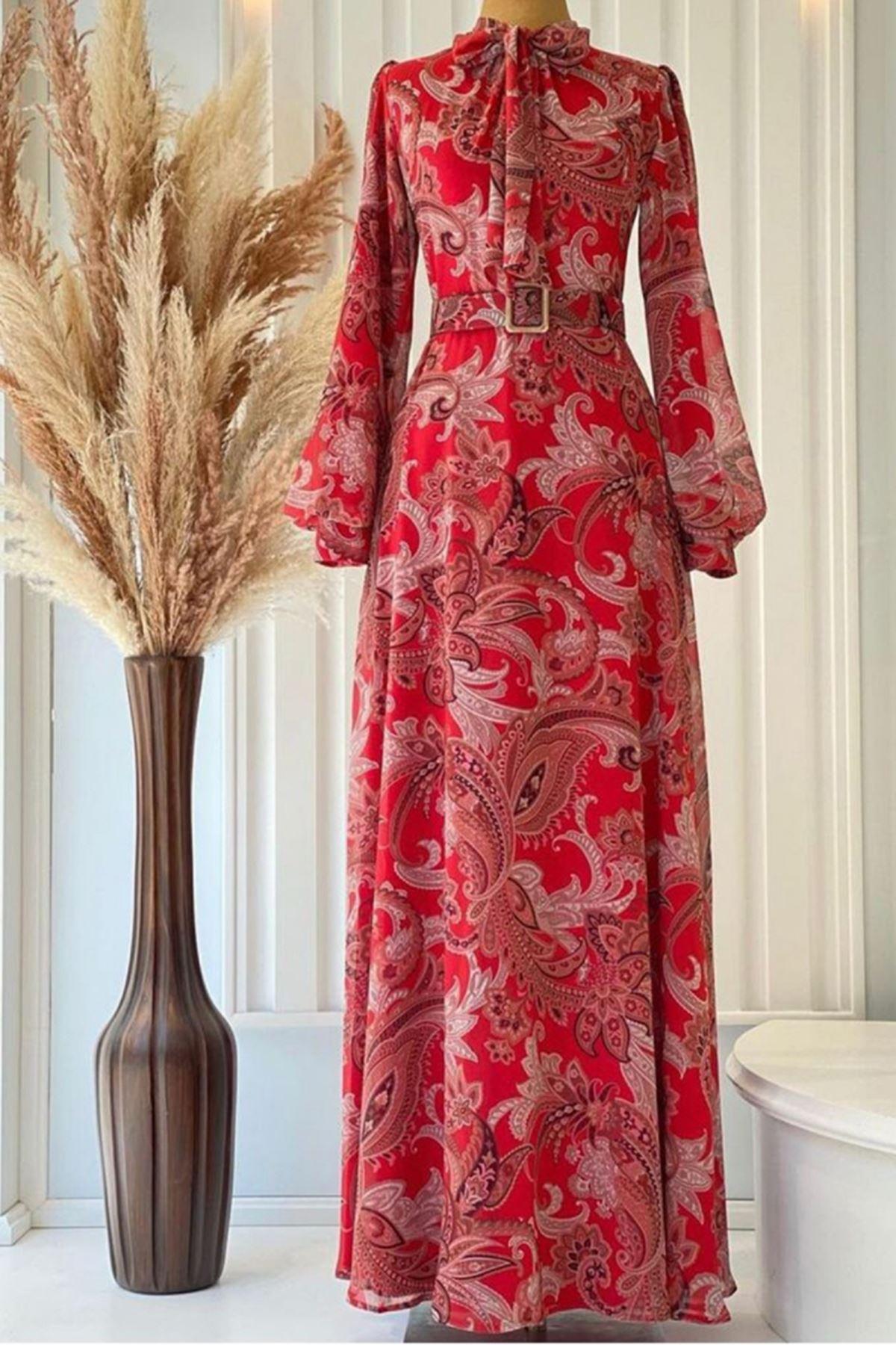 Pınar Şems Seray Elbise Kırmızı PNR6145