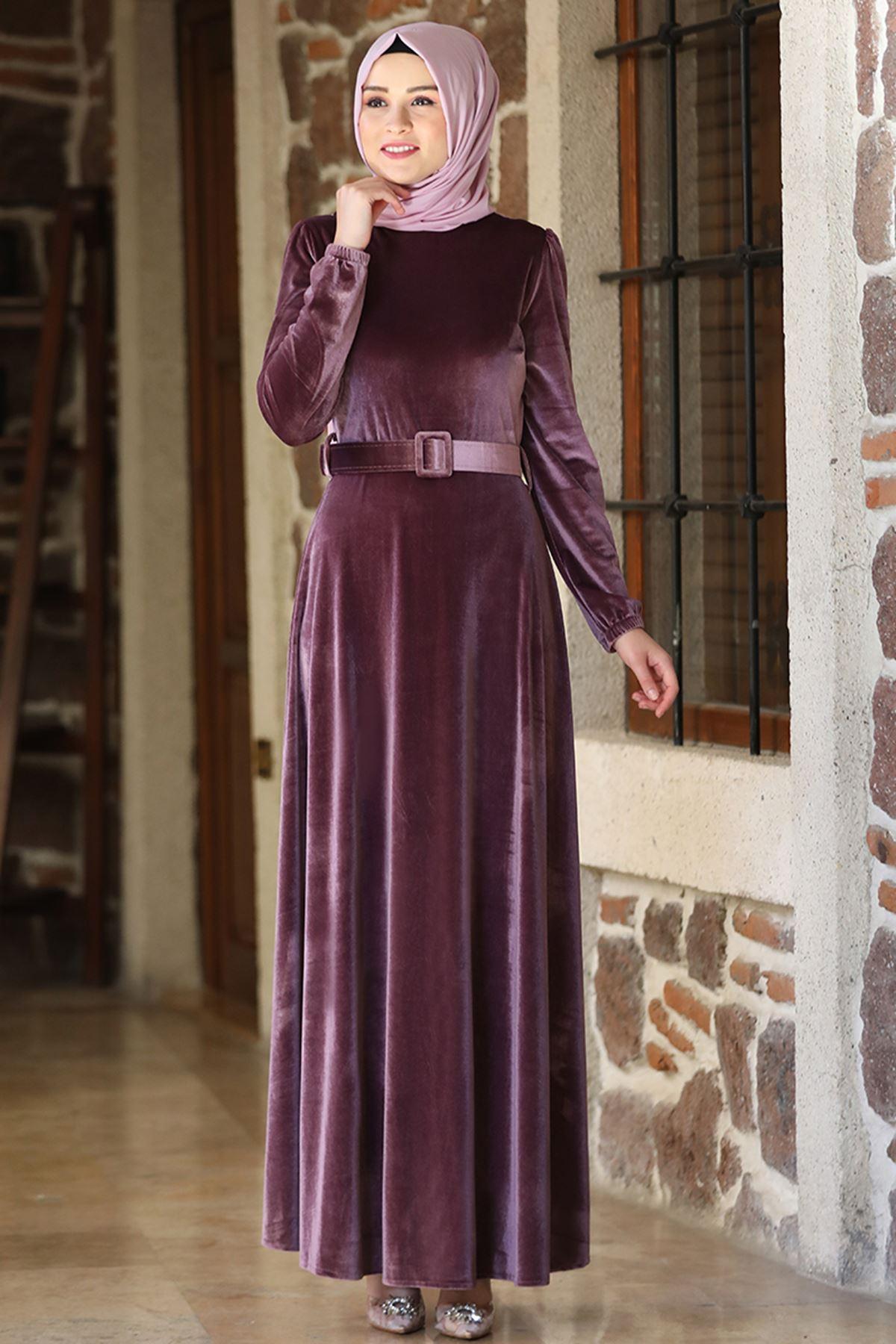 Amine Hüma - Tutku  Kadife Elbise Gül Kurusu AMİ1030