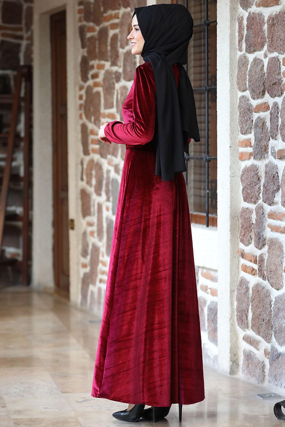 Amine Hüma - Tutku  Kadife Elbise Bordo AMİ1030