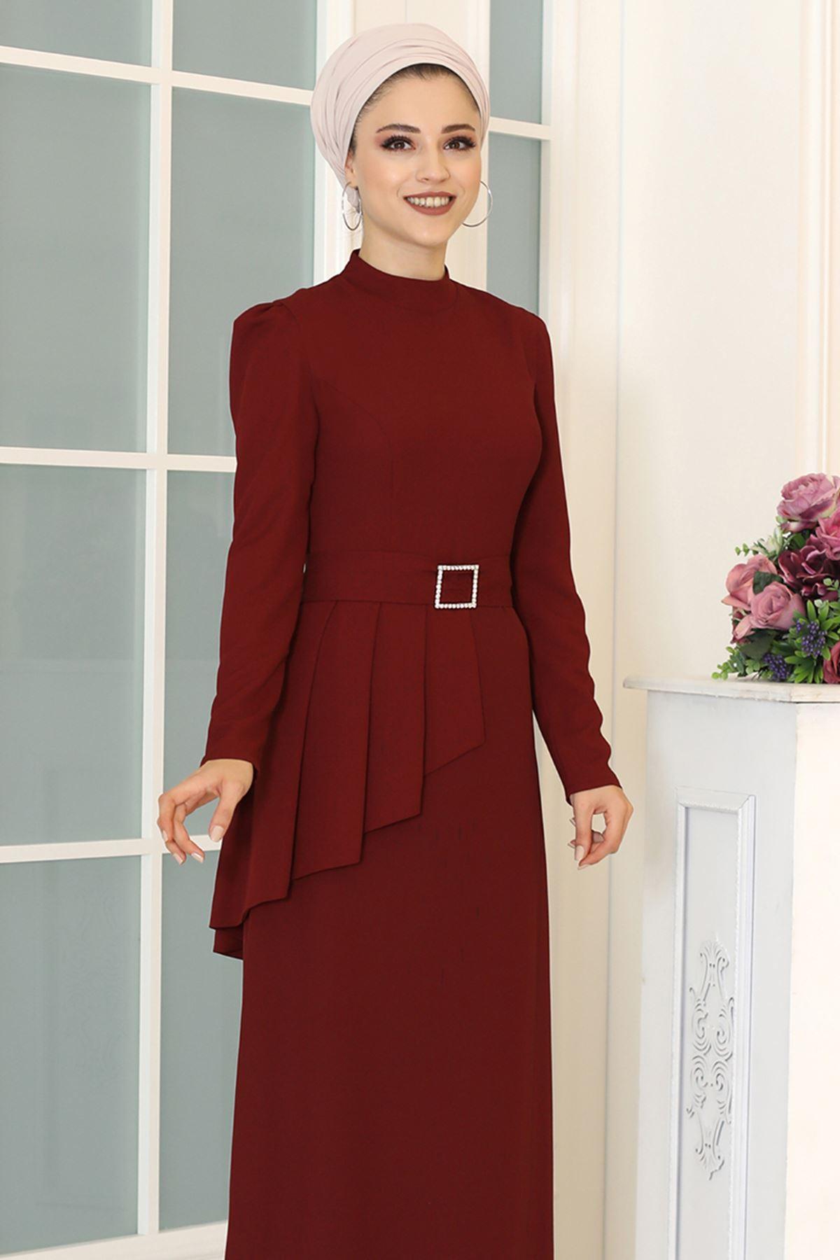 DressLife  Ceyda Elbise Bordo DRE2032