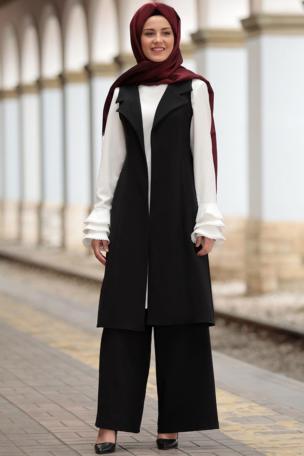 Sure Merve Yelek Pantolon Takım Siyah SUR5005