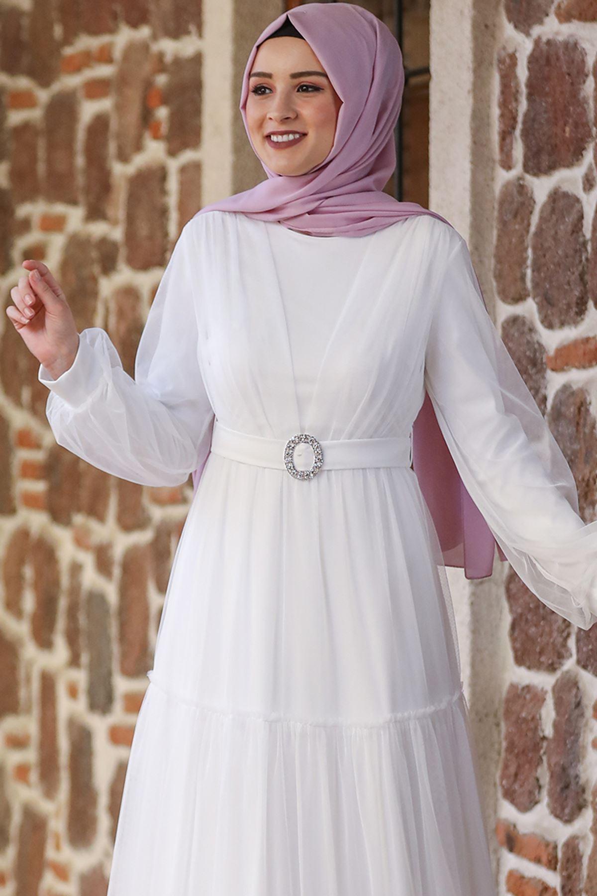 Amine Hüma Soft Elbise Ekru AMİ1026